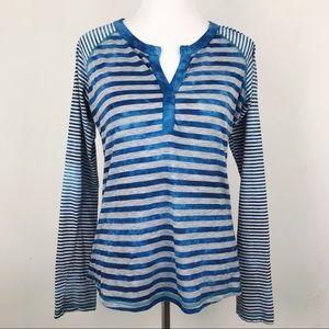 Prana Long Sleeve Blue Mixed Stripe Raglan Tee
